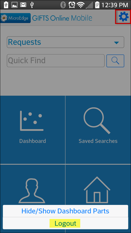 Once Logged In A User Can Log Out By Tapping On The Gear Icon Upper Right Corner Of Home Page And Then Logout