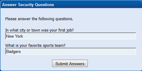 Answer Your Security Questions And Click Submit Answers